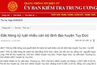 Cảnh cáo Chủ tịch UBND huyện và Chủ nhiệm Ủy ban Kiểm tra huyện Tuy Đức, Đắk Nông