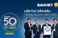 Bảo Việt lần thứ 4 lọt Top 50 doanh nghiệp niêm yết tốt nhất