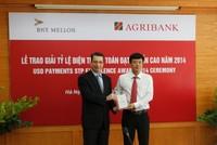 Agribank nhận giải tỷ lệ điện thanh toán đạt chuẩn cao năm 2014
