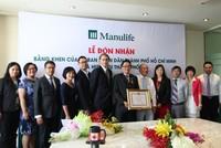 Manulife Việt Nam nhận bằng khen của UBND TP. HCM