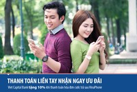 Viet Capital Bank tặng 10% cước trả sau Vinaphone