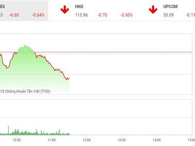 Phiên sáng 14/6: Cổ phiếu lớn chìm trong sắc đỏ, VN-Index quay đầu giảm điểm