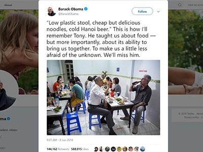 Obama nói nhớ mãi lần ăn bún chả Hà Nội với đầu bếp Bourdain