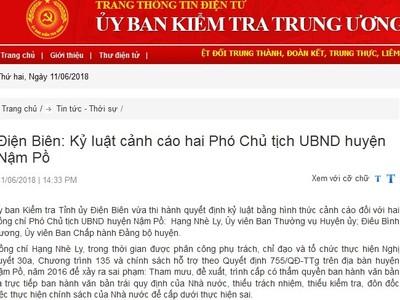 Kỷ luật cảnh cáo Phó chủ tịch UBND huyện Nậm Pồ và Đảng ủy Đài Phát thanh - Truyền hình tỉnh Nam Định