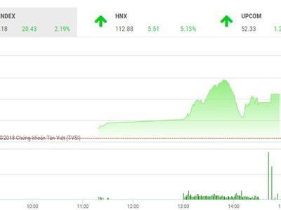 Phiên chiều 29/5: Sắc tím ngập tràn, VN-Index tăng hơn 20 điểm
