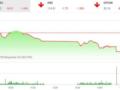 Phiên chiều 14/6: Dòng tiền chuyển hướng, VN-Index giảm mạnh