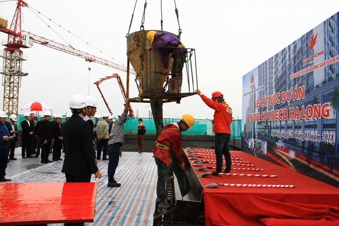 Lideco cất nóc dự án Chung cư 5 tại phường Trần Hưng Đạo, Hạ Long