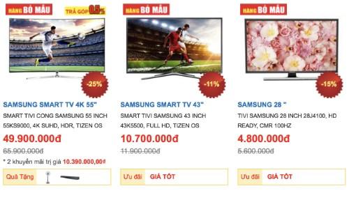 Nhiều mẫu TV giảm giá mạnh trước mùa World Cup