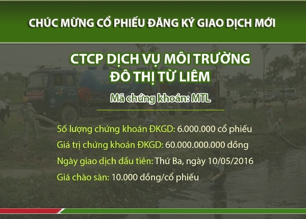 Doanh nghiệp môi trường của Hà Nội lên UPCoM