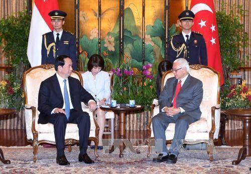 Chủ tịch nước Trần Đại Quang hội đàm, hội kiến lãnh đạo Singapore