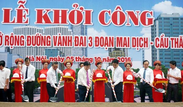Khởi công dự án đường Vành đai 3 đoạn Mai Dịch – cầu Thăng Long, tổng mức đầu tư hơn 3.000 tỷ đồng