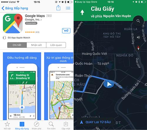 Google Maps cho tải về chính thức trên App Store Việt Nam