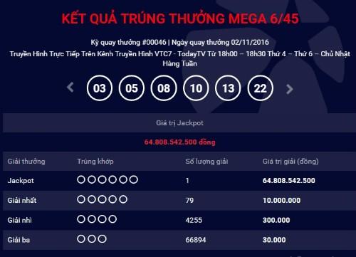 Thêm một khách hàng Việt trúng xổ số hơn 64 tỷ đồng