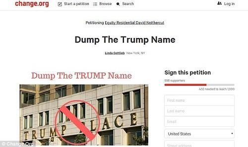Người dân chung cư đòi xóa tên Trump khỏi tòa nhà