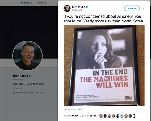 CEO Tesla: Trí tuệ nhân tạo nguy hiểm hơn cả Triều Tiên