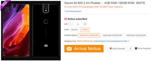 Xiaomi Mi Mix 2 có RAM 8 GB, chip Snapdragon 835